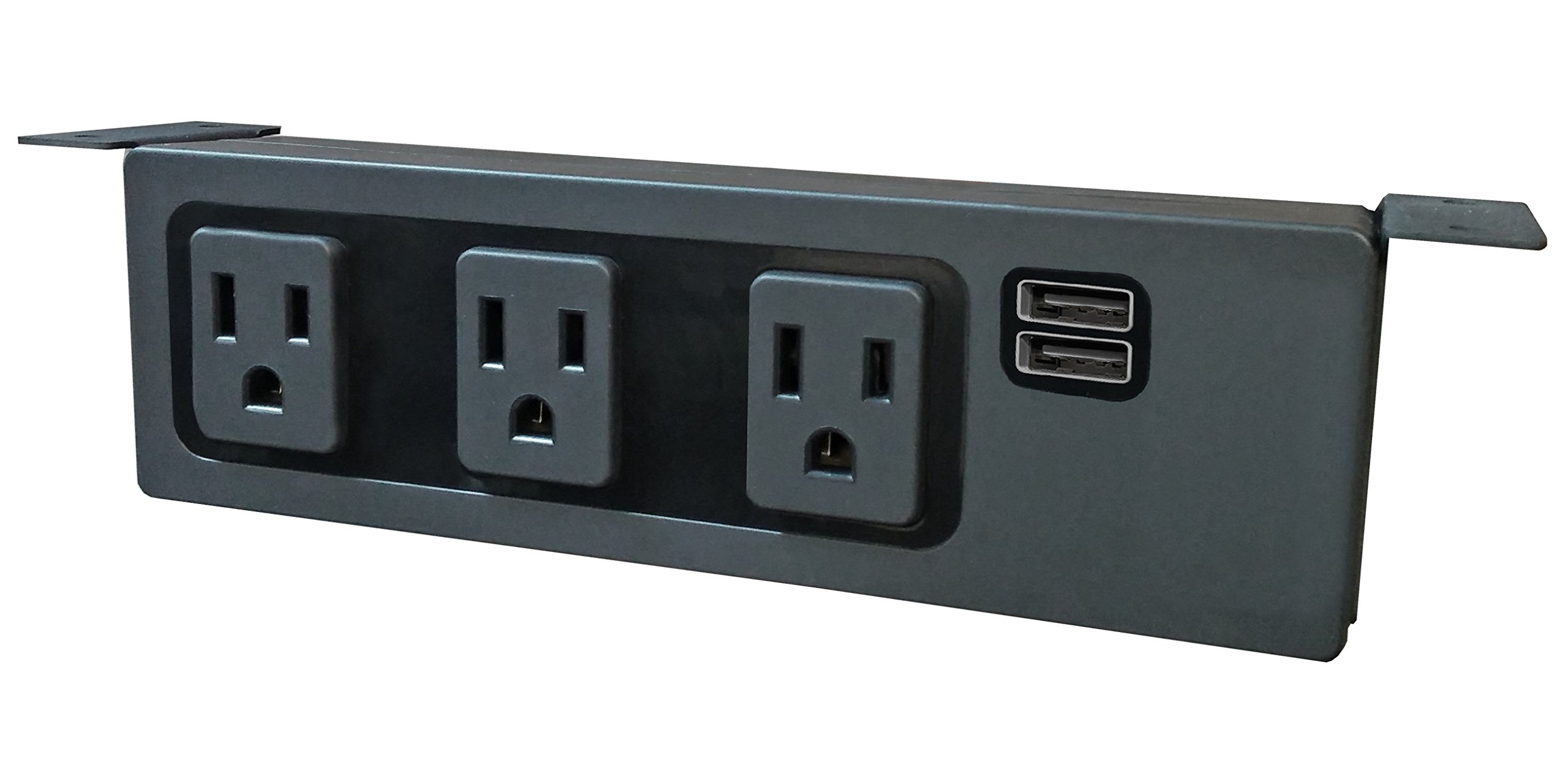 Electriduct Under The Desk/Table Power Center - 3 Outlets & 2 USB 3.1 Amp Ports (Black)