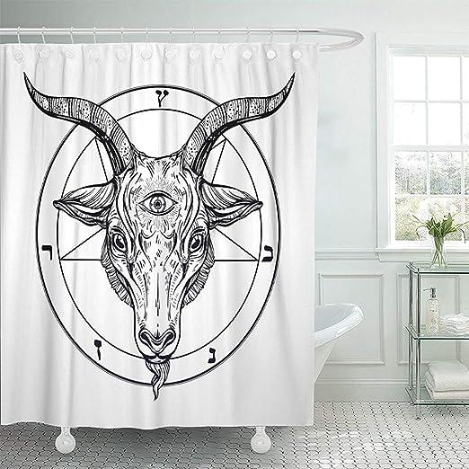 Godfery Walsh Cortina de ducha Pentagrama con demonio Baphomet ...
