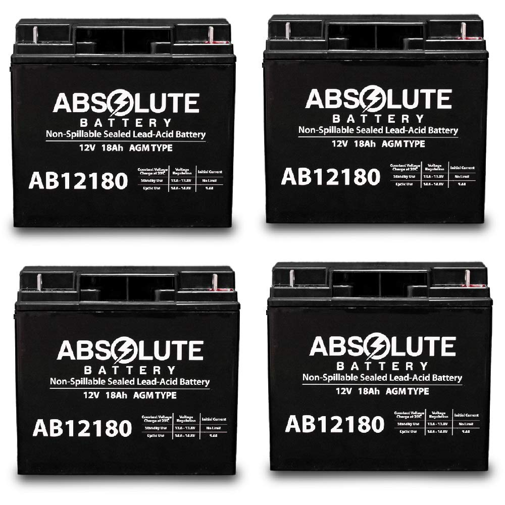 4 Pack AB12180 12V 18AH Replacement Battery E-Wheels EW-72 Bariatric Scooter by Absolute Battery