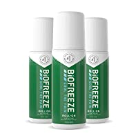 Biofreeze Pain Relief Roll-On, 3 oz. Roll-On, Fast Acting, Long Lasting, & Powerful Topical Pain Reliever, Pack of 3 (Packaging May Vary)