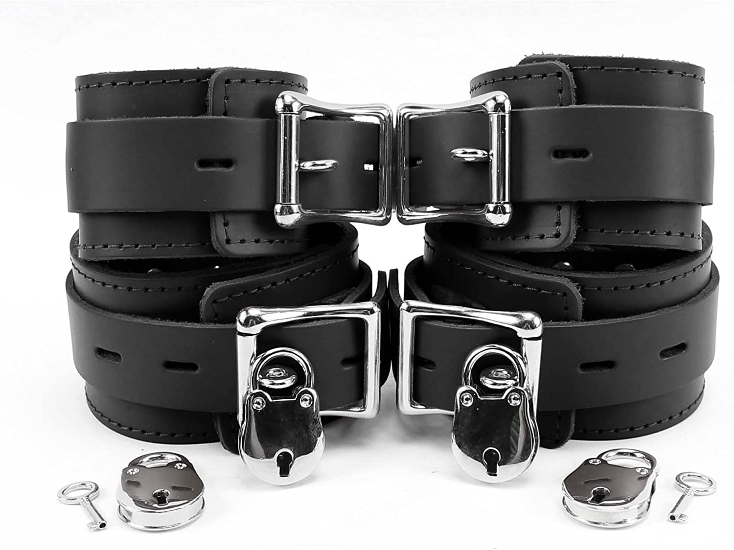 B07D3ZHRSD Atlanta Wrist and Ankle Cuffs Combo Premium Genuine Leather 71a51KmiWWL