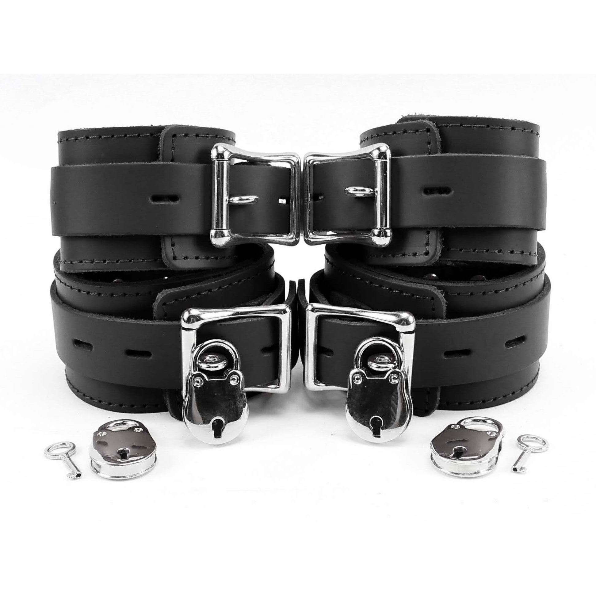 Atlas Lockable Wrist and Ankle Cuffs Combo Lambskin Leather Ultra Soft Restraints (Black)