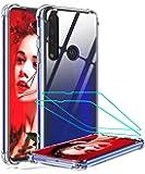 LeYi Funda Motorola Moto G8 Plus con [2-Unidades] Cristal Templado,Transparente Shockproof Carcasa Hard Silicone PC y…