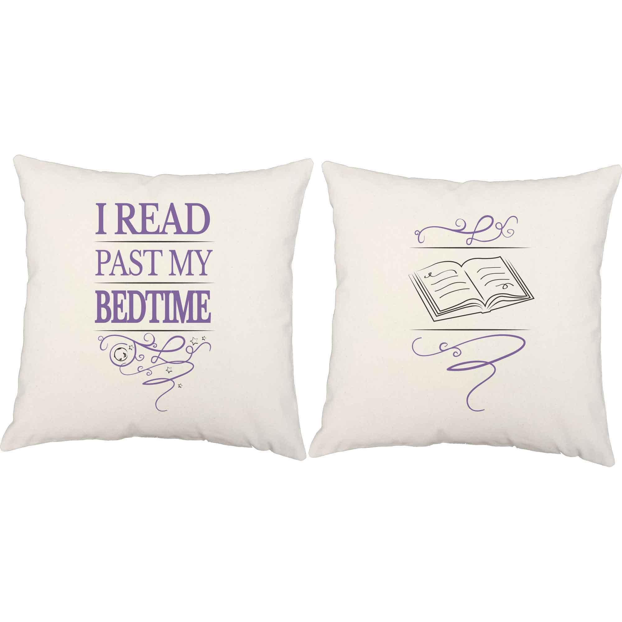 Set of 2 RoomCraft I Read Past My Bedtime Throw Pillows 20x20 Square White Indoor-Outdoor Reading Books Cushions