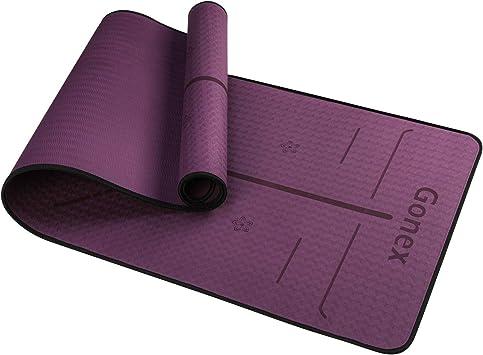 Gonex Esterilla de Yoga TPE Colchoneta de Yoga para Pilates Ejercicios Fitness Entrenamiento Deportes Alfombrilla Antideslizante C/ómoda Ligera con Correa de Hombro 182x61cm Grosor 6mm