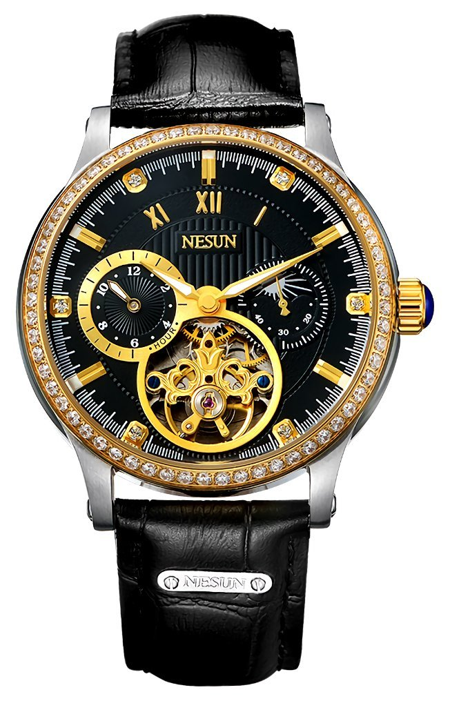 Mens Business Automatic Mechanical Wrist Watches Crystal Inlaied with Leather Strap (Gold-Black)