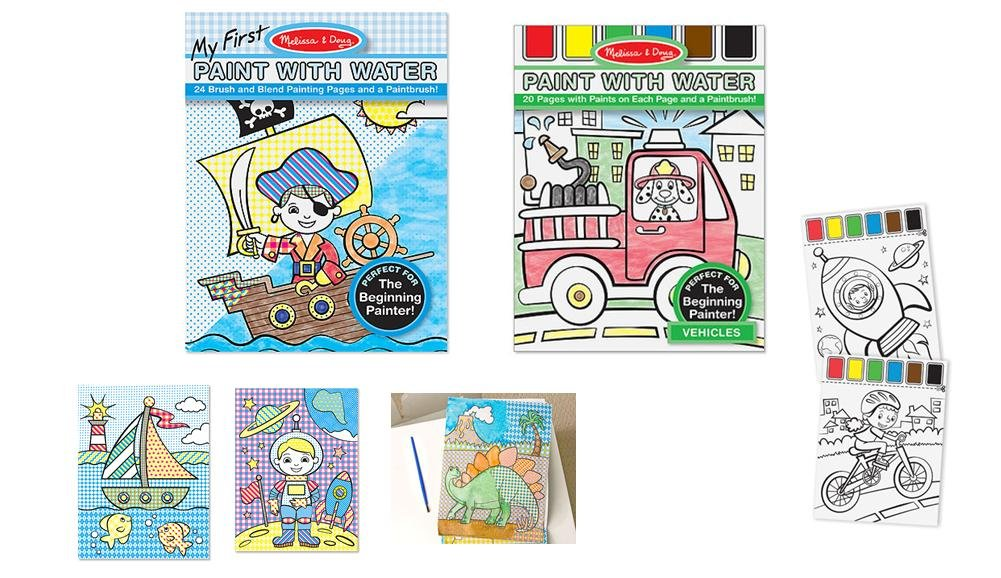 Paint With Water Bundle - 2 sets Blue and Vehicles by Melissa and Doug