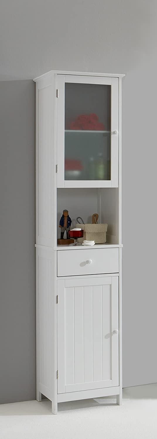 stockholm tall tallboy white bathroom cabinet with glass door by dmf by mia amazoncouk kitchen home - Tall Bathroom Cabinets Uk