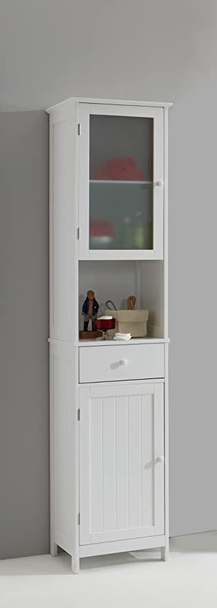 Stockholm Tall Tallboy White Bathroom Cabinet With Glass Door By Dmf