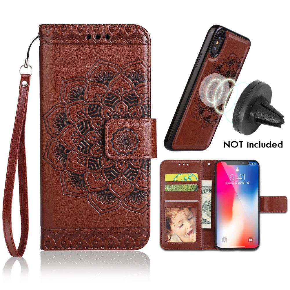 iPhone X Case, iPhone 10 Wallet Cases Detachable Slim Case,Card Solts Holder,Fit Car Mount,CASEOWL Mandala Flower Floral Embossed Vegan Leather Flip Lanyard Wallet Case iPhone X/10[Brown]