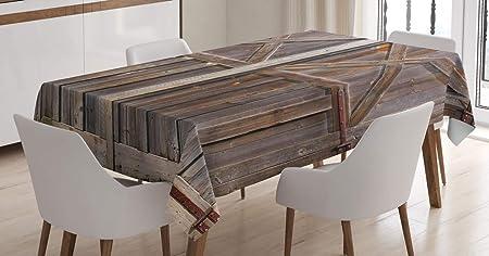 Imagen deABAKUHAUS Rústico Mantele, Antiguo Almacén de Madera, Fácil de Limpiar Colores Firmes y Durables Lavable Personalizado, 140 x 200 cm, marrón