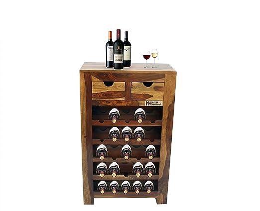 Meera Handicraft Sheesham Wood Stylish Bar Cabinet for Living Room | Teak Finish