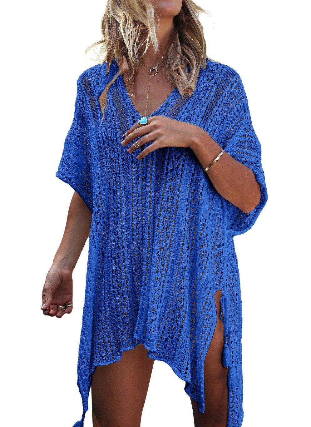 LeaLac Women's Summer Cotton Bathing Suit Cover up Beach Bikini Swimsuit Swimwear Crochet Dress Gift for Women LXF13 Blue