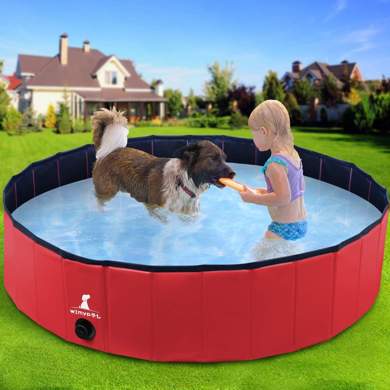 Wimypet Piscina Mascotas, Piscina para Niños, Piscina Grande Plegable para para Perros/Gatos con PVC Antideslizante Resistente al Desgaste Natacion Mascotas - Rojo (80 * 20CM)