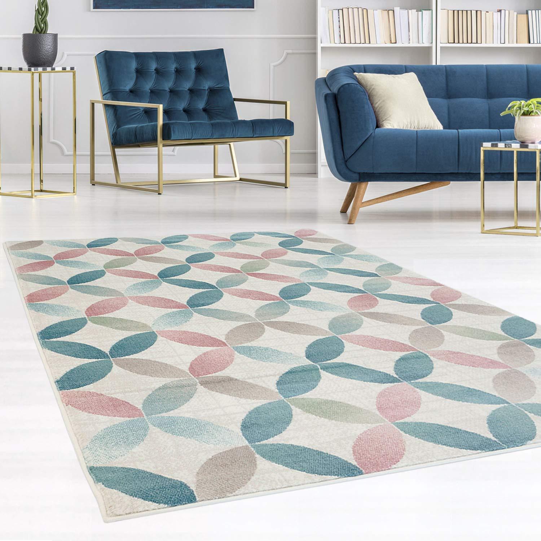 Carpet city Teppich Flachflor Inspiration mit Geometrischen Muster, Marokkanischer-Stil mit mit mit Pastellfarben, Blau, Rosa, Creme, Beige für Wohnzimmer, Größe  80x300 cm ae5973