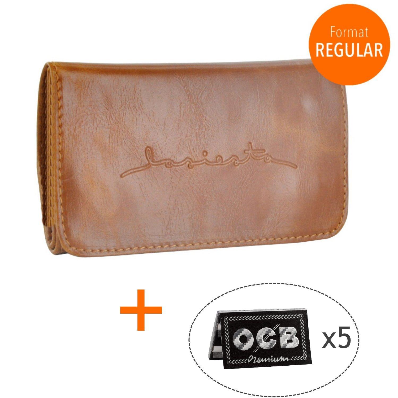Pack Pochette a tabacco–PORTATABACCO taccuino doppio lasiesta + 5pacchetti di fogli OCB Regular–Tobacco Pouch–tasca a tabacco–Marrone Chiaro