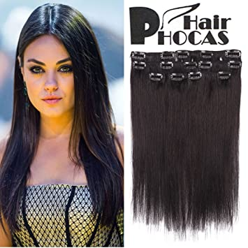 Amazon hairphocas 14 inch 1b natural black full head clip hairphocas 14 inch 1b natural black full head clip in remy human hair extensions real pmusecretfo Choice Image