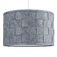 Large Modern Weave Design Drum Ceiling Pendant Light Shade in a Grey Felt Finish