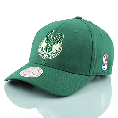 a688df10866 Mitchell   Ness Milwaukee Bucks Baseball Cap - Flexfit 110 Snapback -  Forest Adjustable