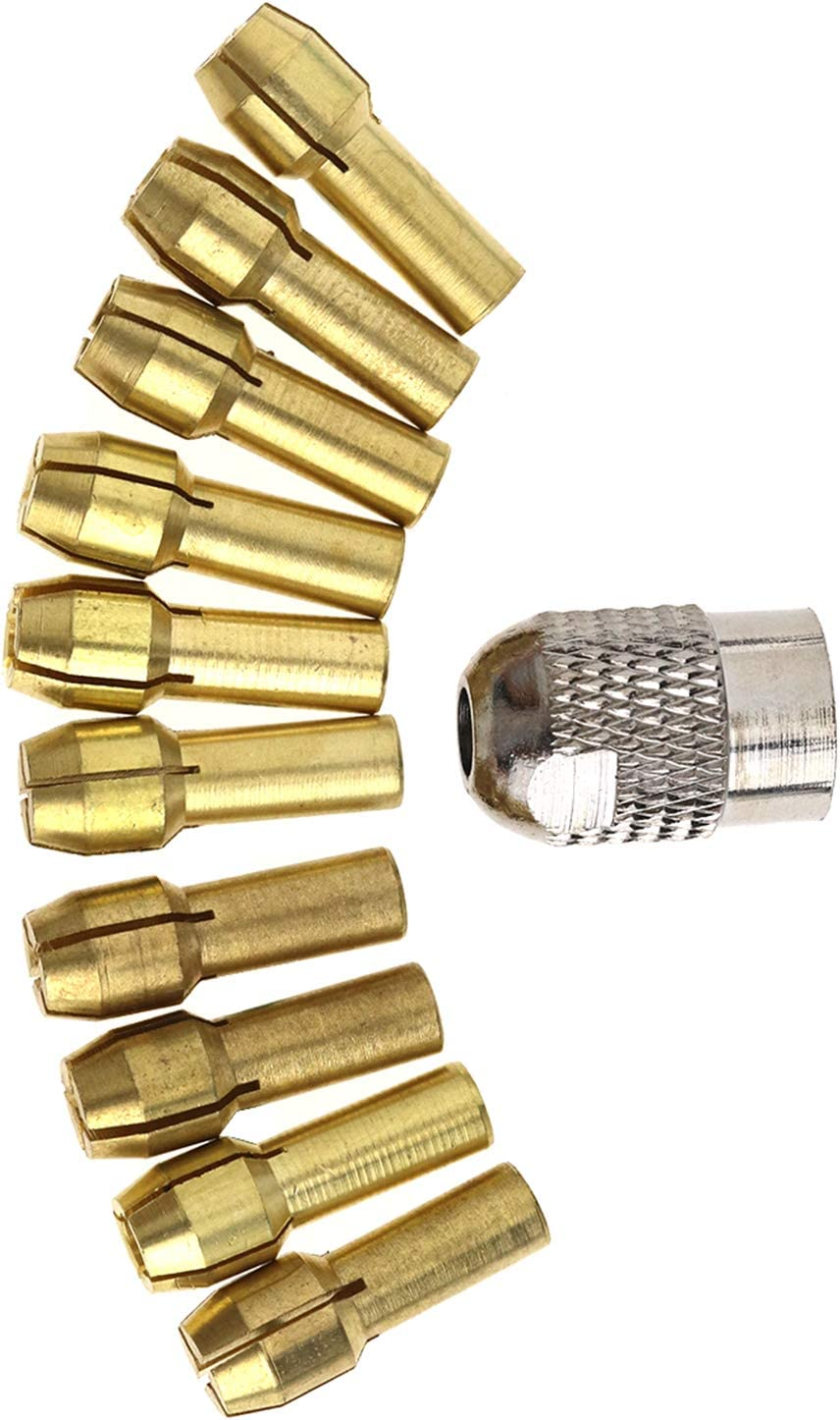 Create Idea Pack of 10 0.5mm-3.2mm Brass Drill Chuck Collet Bits 4.3mm Shank For Rotary Tool Assorted