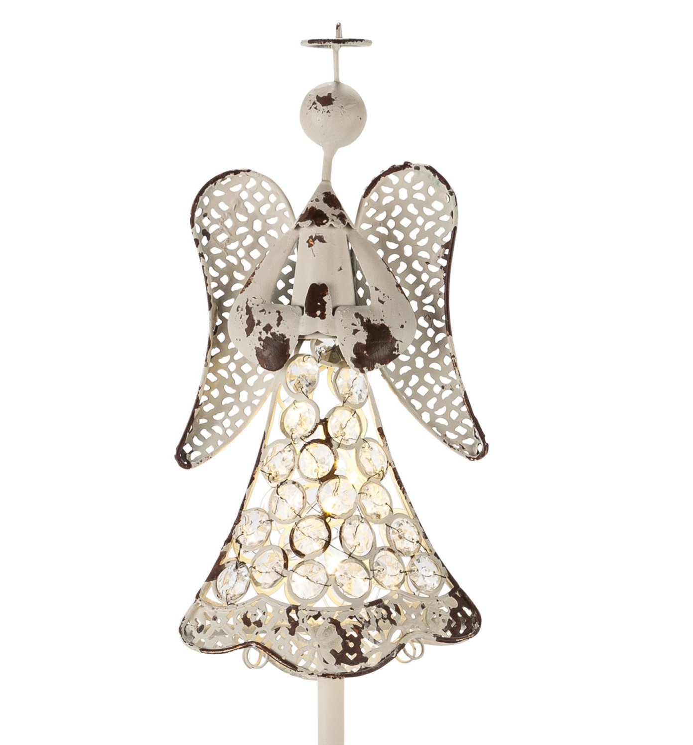 Gerson 42'' Beautiful Inspirational Angel Solar Lighted Yard Stake with Acrylic Beads (42'' Angel w Clear Jewels)