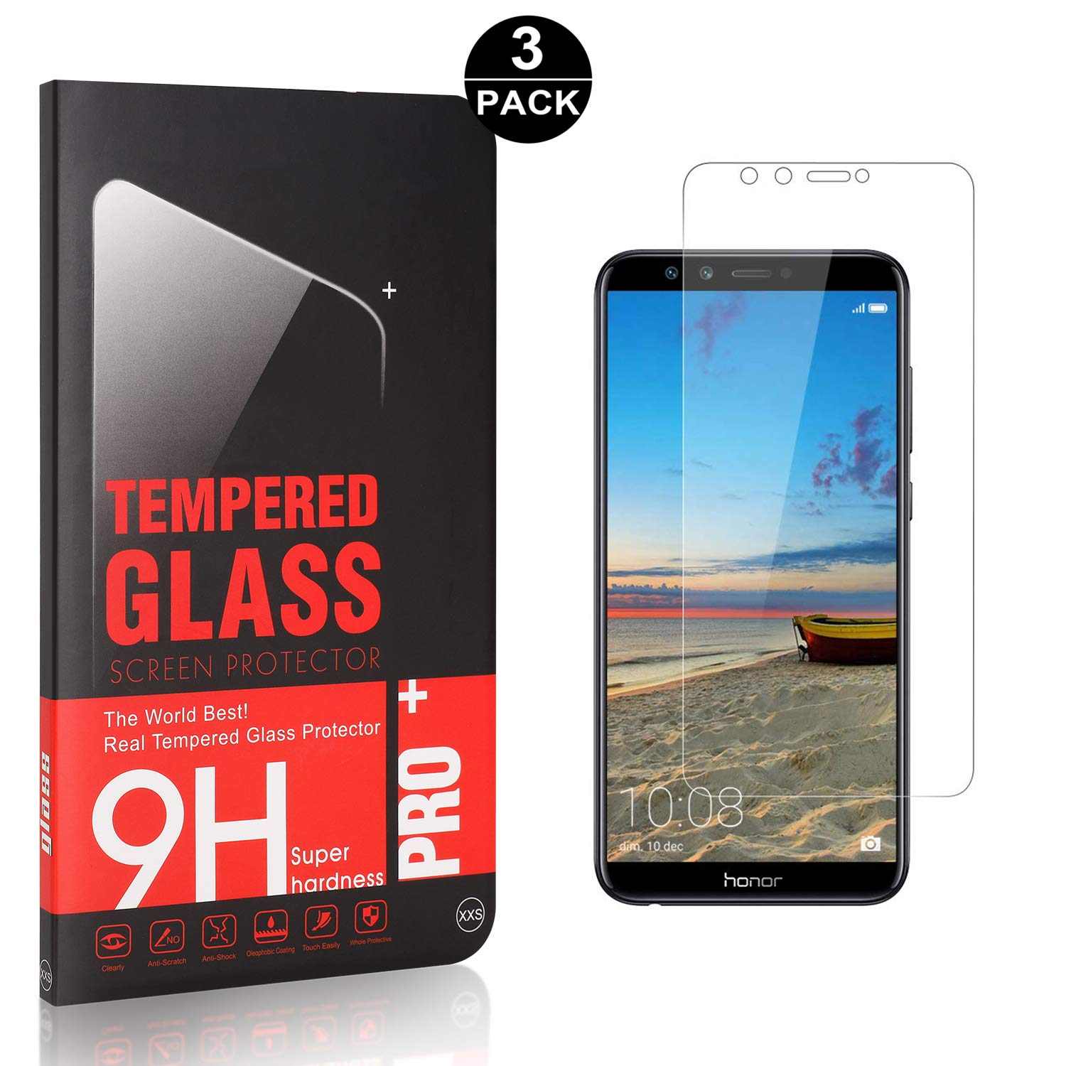 Bear Village Huawei Honor 9 Lite Premium Tempered Glass Screen Protector 3 Pack Ultra Clear Bubble Free Screen Protector Film for Huawei Honor 9 Lite