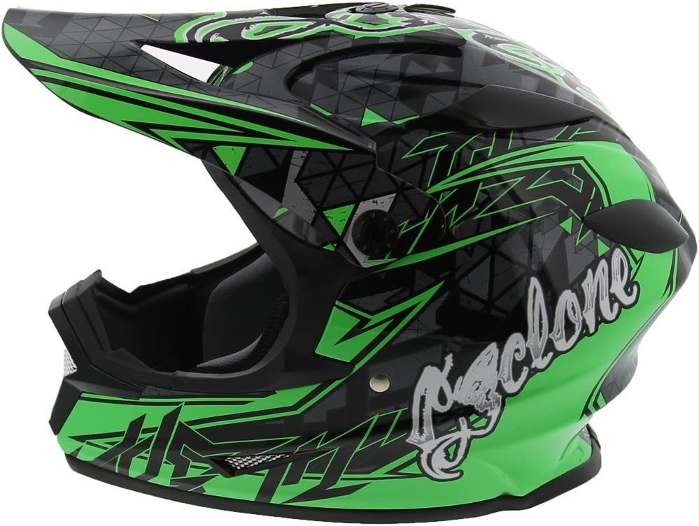 Amazon Com Cyclone Atv Mx Dirt Bike Off Road Helmet Dot Ece Approved Green X Large Automotive