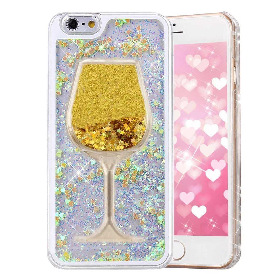 Glitter Bling Hearts Flowing Liquid Heart Clear Hard Case for iPhone 8 Plus Heart Yellow