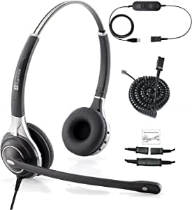 Snom and Grandstream IP Phones Deluxe Double Ear Noise Canceling Headset and QD U10PS Cable Compatible with Yealink T19 T20 T21 T22 T23 T26 T27 T28 T29 T32 T36 T38 T40 T41 T42 T46 T48 T52 T54