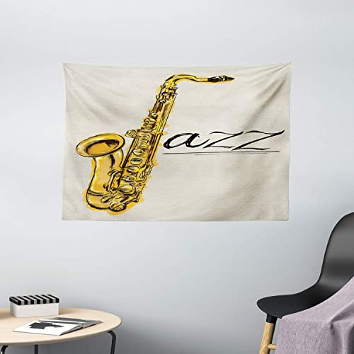 Ambesonne Music Tapestry, Classic Painting of Jazz Saxophone Print on Plain Background Vintage Style Sketch, Wide Wall Hanging for Bedroom Living Room Dorm, 60 X 40 , Yellow Ecru