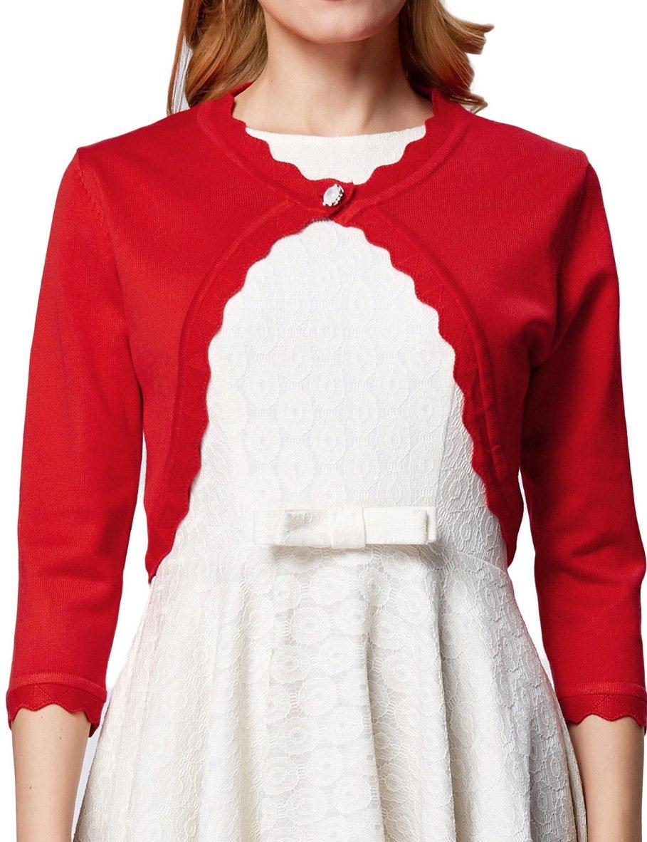 3/4 Sleeve Open Front Shrug Crop Cardigan for Women Casaul Red,L AF1062-1