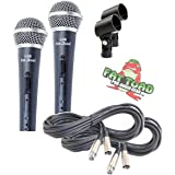 Vocal Microphones with XLR Mic Cables & Clips (2 Pack) by Fat Toad|Cardioid Dynamic Handheld