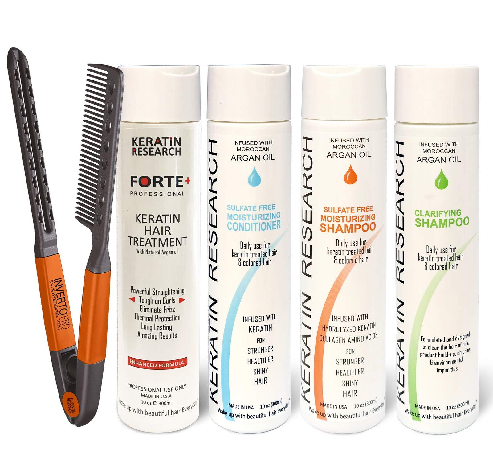 Forte Plus Extra Strength Brazilian Keratin Hair Treatment Professional 300ml Set Including Moisturizing Shampoo, Moisturizing Conditioner, Clarifying Shampoo, Brush/Comb Proven Amazing Results