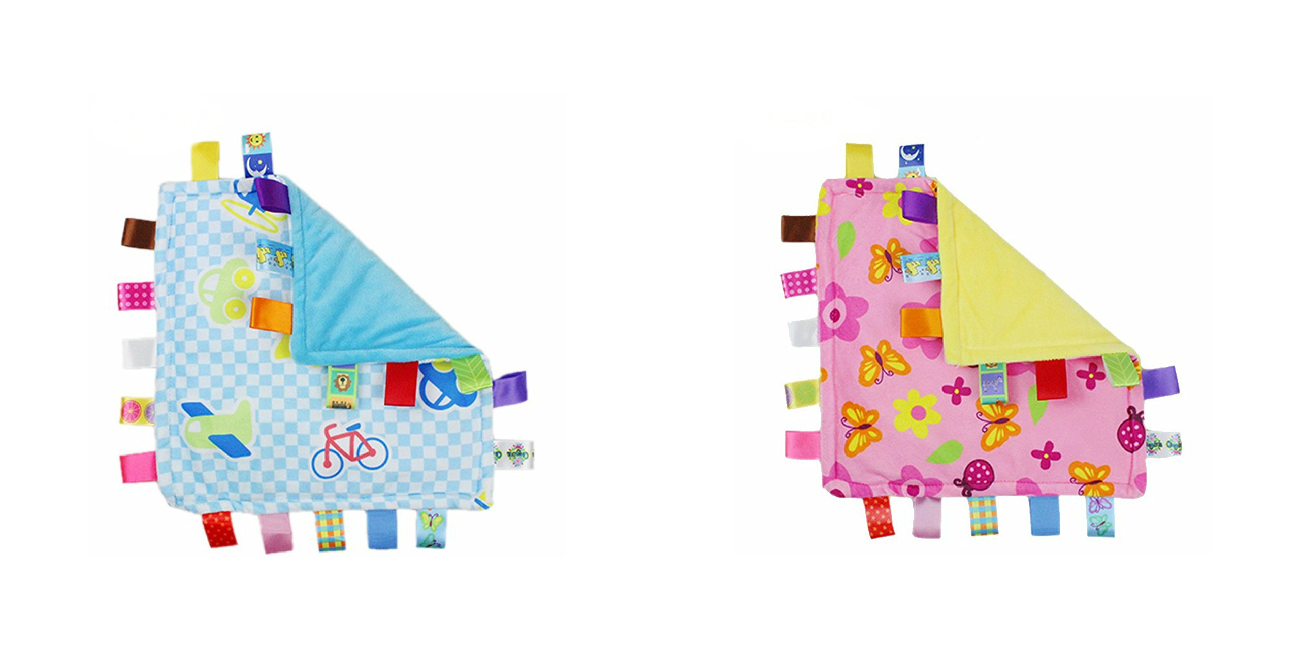 J&C Family Owned Blue Vehicle and Pink Flowers Taggie Style Super Soft Lovey Baby Blanket 2 Pack