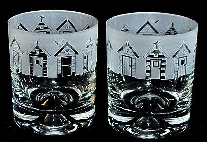 Esmerilado diseño de casetas de playa friso~cristal vaso de Whisky (en caja par