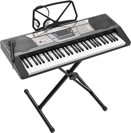 LAGRIMA teclado de piano eléctrico portátil de 61 teclas, incluye pantalla LED, entrada USB/auriculares/MP3, soporte de música, soporte X, fuente de ...