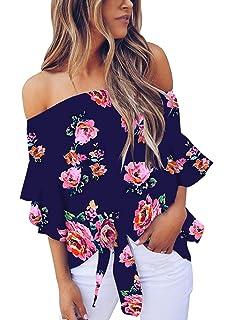 Amazon.com: Blusas de hombros descubiertos para mujer con ...