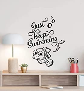 Just Keep Swimming Wall Decal Finding Nemo Dory Poster Sign Bathroom Quote Disney Vinyl Sticker Gift Kids Room Decor Playroom Wall - Made in USA-Fast delivery
