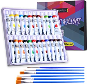 Acrylic Paint Set for Adults, Oil Painting Pigment 24 Colors Acrylic Craft Paint with 6 Brushes for Canvas Glass Wood Stone Ceramic Model Perfect for Beginners or Professionals Travle Outdoor Set