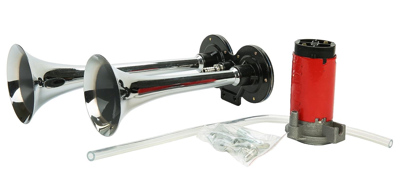 8MILELAKE 12V Air Horn Dual Trumpet Chrome Zinc 150DB Super Loud Dual Trumpet Car Modified Air Pump Electric Air Horn
