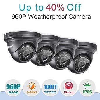 ANNKE Kit 4 cámaras de Vigilancia(CCTV 4x 960P Cámara IR-CUT 24 Leds