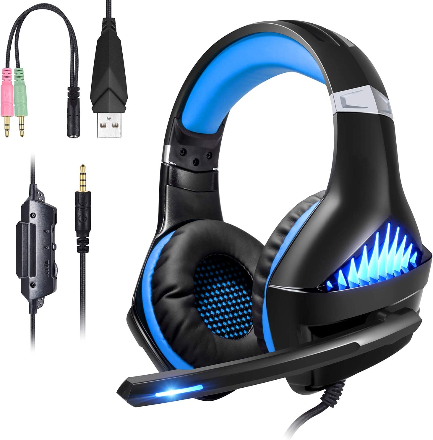 Samoleus Gaming Auriculares con Microfono, Cascos Gaming PS4 PC Xbox One, Cascos Gamer, Headset Cascos Jack 3.5mm, Luz LED con Switch, Laptop, Playstation 4 (Upgraded Red)