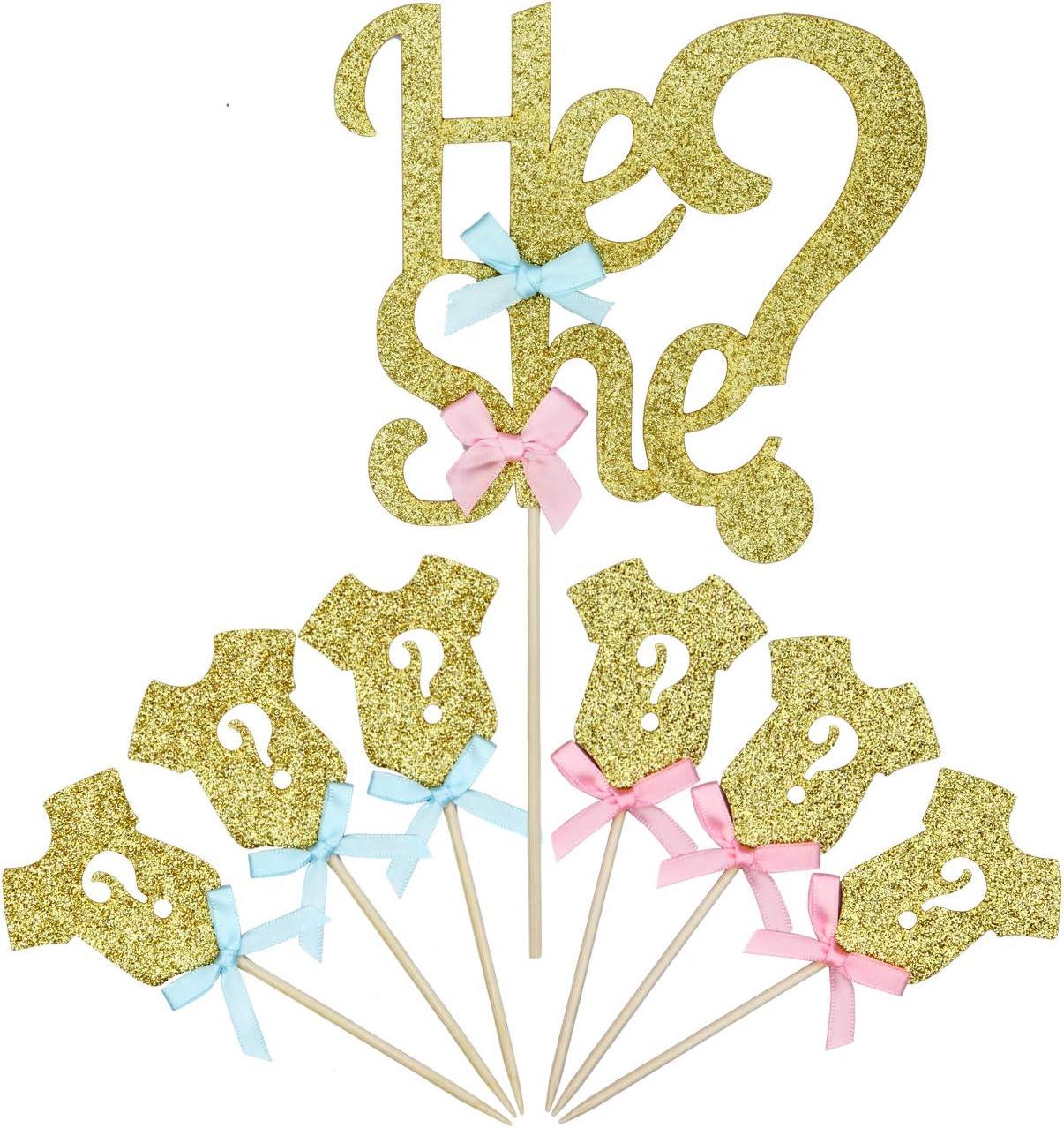1he or she und 24 Baby Kleidung Cupcake Toppers LIDAGO 25 St/ück Glitzer Gender Reveal Cupcake Topper f/ür Jungen oder M/ädchen Baby Party Kuchen Lebensmittel Dekoration Supplies