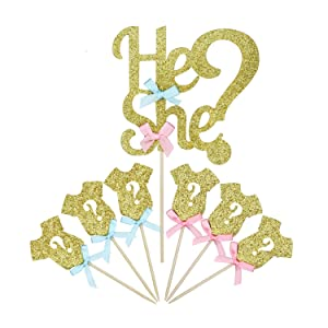 "LIDAGO 25 Pack Glitter Gender Reveal Cupcake Toppers, Boy or Girl Baby Shower Party Cake Food Decoration Supplies(1 ""he or she"" and 24 baby clothes Cupcake Toppers)."