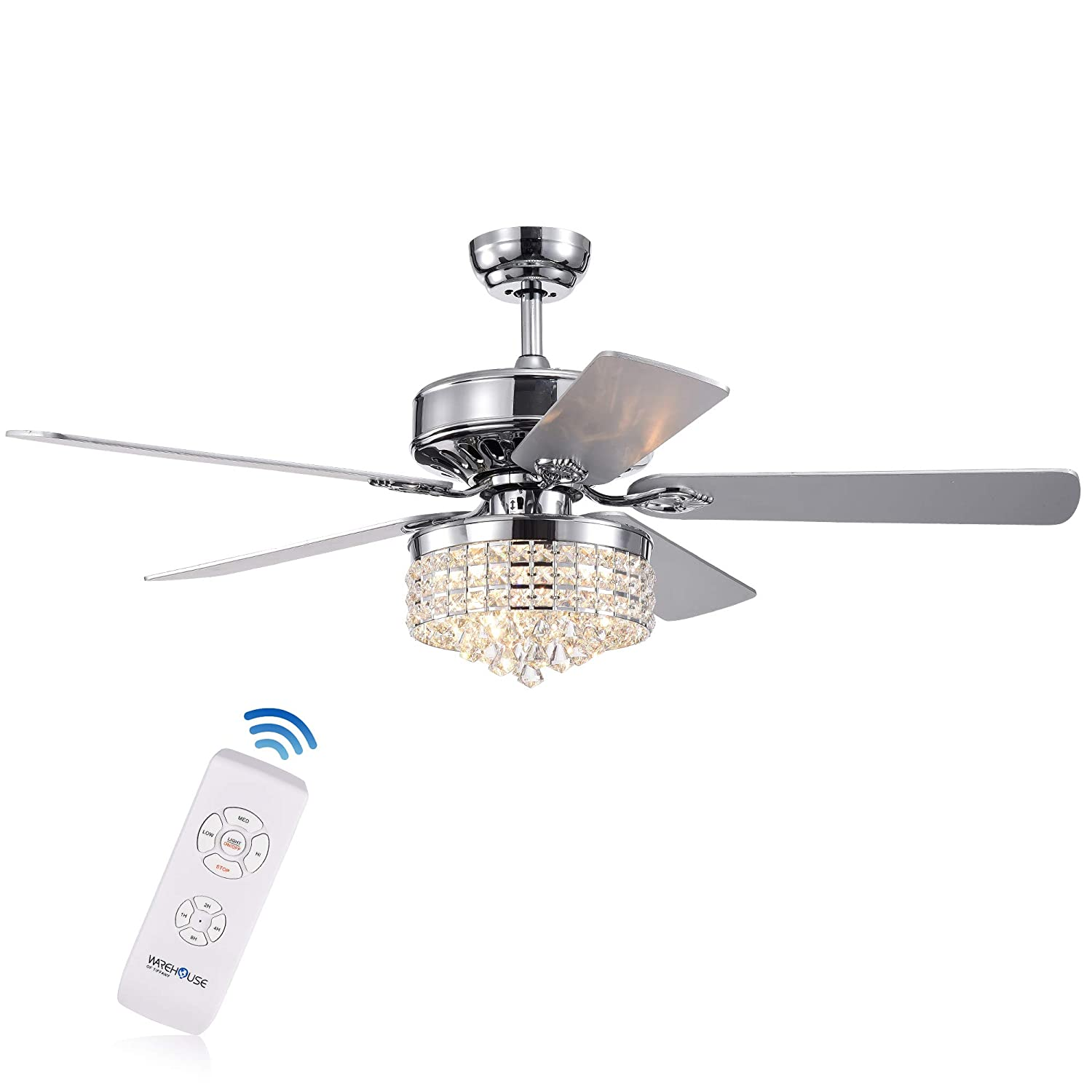 Warehouse of Tiffany CFL-8358REMO CH Letta 52-Inch 5-Blade Chrome Lighted Crystal Shade Remote Controlled Ceiling Fan