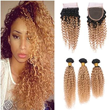 Amazon Com Vaovos Hair Afro Kinky 1b 27 Strawberry Blonde Lace