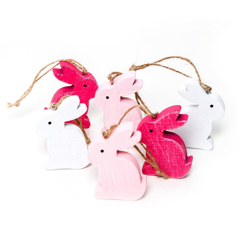 /Pasqua Decorazione da appendere o altri Nest decorare 6/pezzi piccolo Pink Rosa Legno osterhasen 6/cm da appendere/ /Legno lepri Pasqua Decorazione Oster fatti a mano come ciondolo regalo Give Away/