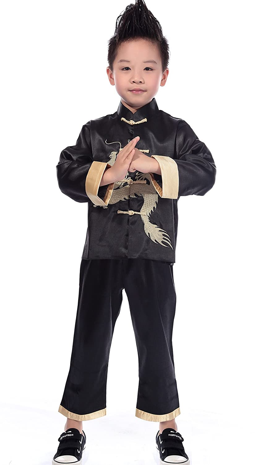 AvaCostume Traditional Chinese Boy Dragon Kung Fu Outfit Tang Costume