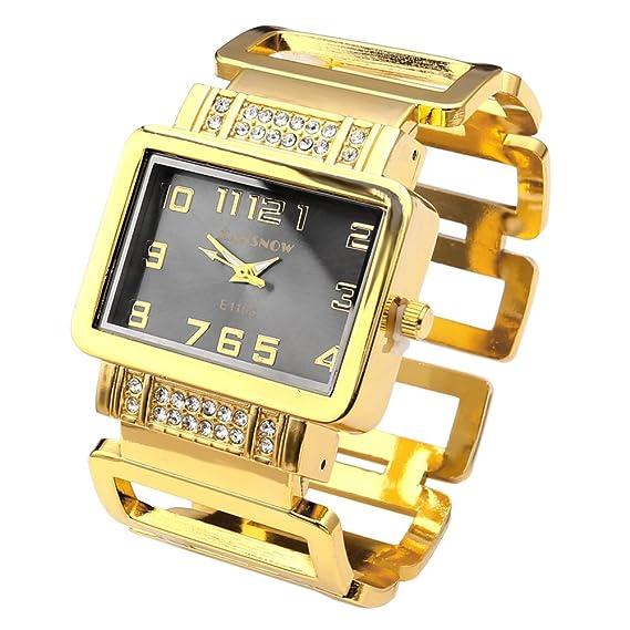 Top Plaza de las mujeres cuadrado Dial Rhinestones reloj de pulsera pulsera reloj - dorado tono: Amazon.es: Relojes