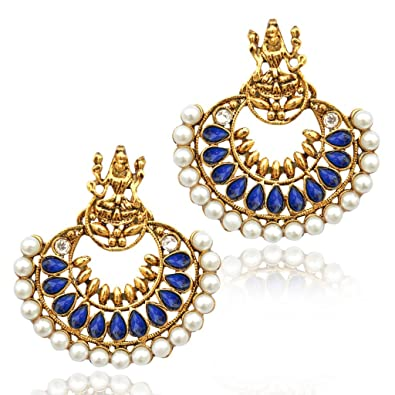 a5932fb72b0fc Pearl Blue Ramleela South India Temple goddess Lakshmi ADIVA earring mz5b